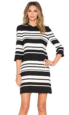 kate spade new york Cape Stripe Dizzy Dress in Black & Cream