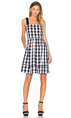 kate spade new york Gingham Dress in Black & Fresh White