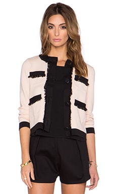 kate spade new york Fringe Pocket Cardigan in Shell & Black