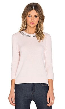 kate spade new york Embellished Necklace Sweater in Pastry Pink