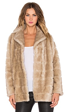 kate spade new york Blonde Mink Faux Fur Coat in Champagne
