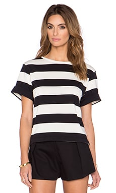 kate spade new york Stripe Top in Black & Cream