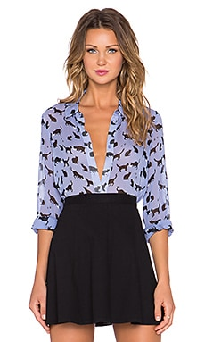 kate spade new york Cats & Cream Button Up in Dark Aster