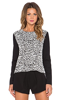 kate spade new york Leopard Jacquard Top in Cream & Black