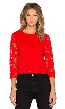 kate spade new york Floral Lace Top in Lollipop Red