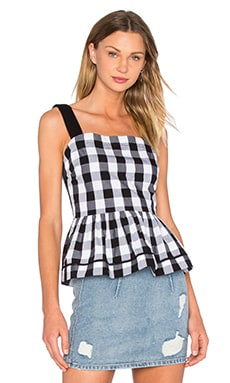 Gingham Peplum Tank in Black & Fresh White
