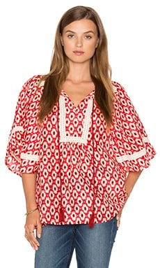 Posy Ikat Crochet Trim Top in Red Chestnut Multi