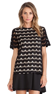 Kate Spade New York Scallop Lace Top in Black