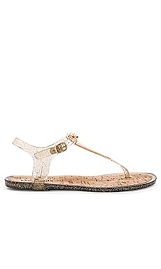 Yari Sandal en Naturel Pailleté Or