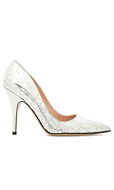 kate spade new york Licorice Heel in Silver Metallic