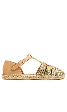 kate spade new york Lolana Flat in Gold Glitter & Light Camel