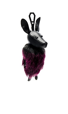 KENDALL + KYLIE Norman Faux Fur Dog Charm in Black & Red Plum