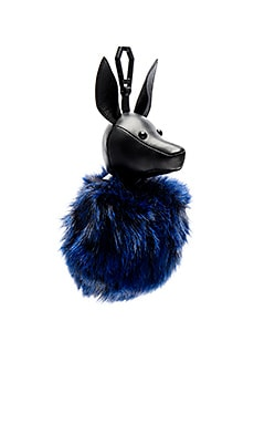KENDALL + KYLIE Bambi Faux Fur Dog Charm in Black & Cobalt