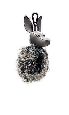 Bambi Faux Fur Dog Charm in Cement Grey & Black