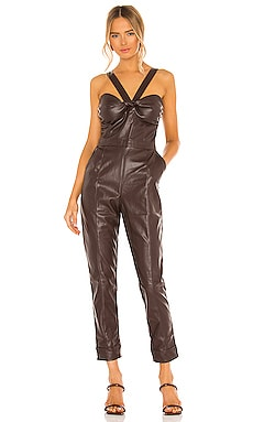 Vegan Leather Bustier Jumpsuit KENDALL + KYLIE $113
