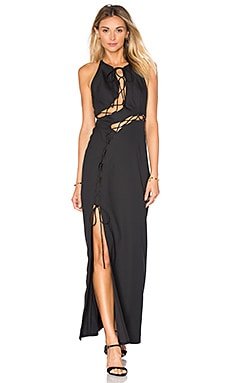 KENDALL + KYLIE Lace Up Maxi Dress in Black