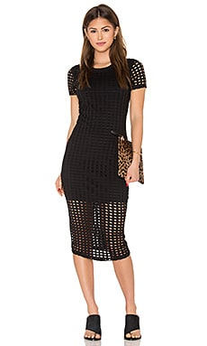 KENDALL + KYLIE Laser Cut Out Midi Dress in Black