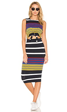 Multi Stripe Tie Waist Dress in Multi