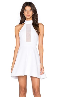 Mesh Inset Halter Dress in White
