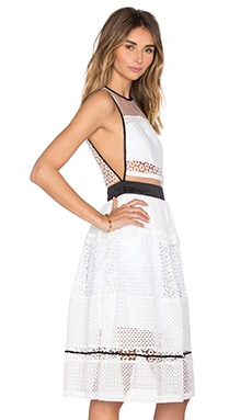 Mixed Lace Dress in White Multi