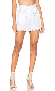 Frayed Twill Short in Bright White