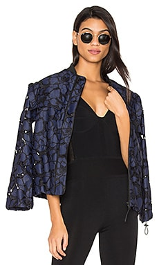 Lace Bomber Jacket in Tru Navy