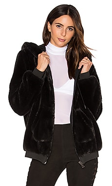 Fur Zip Up Faux Fur Hoodie in Black