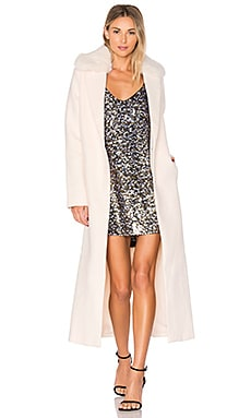 Melton Column Coat with Faux Fur Collar in Winter White
