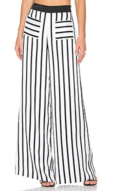 KENDALL + KYLIE PJ Wide Leg Pant in White & Black Stripe