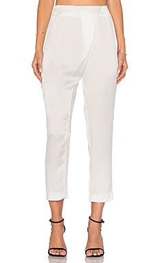 Silk Draped Trouser in Winter White