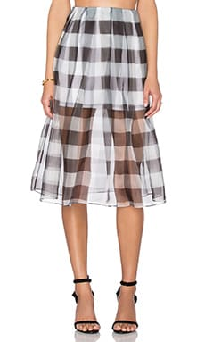 KENDALL + KYLIE Organza Pleated Skirt in Gingham