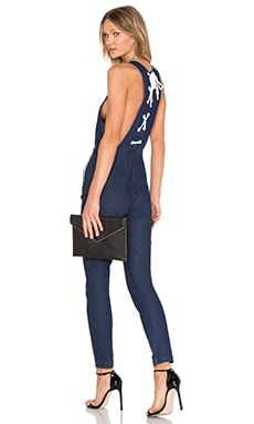 KENDALL + KYLIE Denim Lace Up Jumpsuit in Rinse