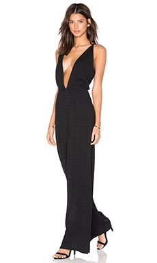 Deep V Jumpsuit in Black