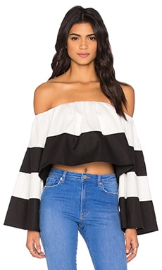 KENDALL + KYLIE Off Shoulder Ruffle Top in Bright White & Black