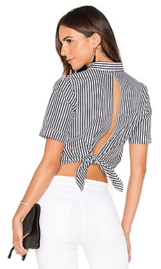 KENDALL + KYLIE Open Back Top in Black & White Vertical Stripe