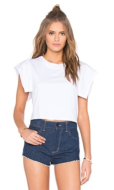 KENDALL + KYLIE Flutter Sleeve Top in Bright White