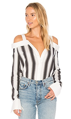 Stripe Off Shoulder Top in White & Grey