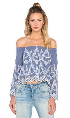 KENDALL + KYLIE Eyelet Off Shoulder Blouse in Tempest