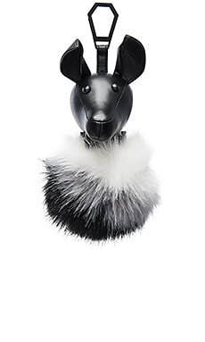 Bambi Faux Fur Charm in Black & White Ombre