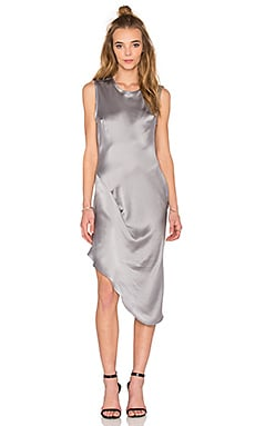 KES Asymmetric Drape Dress in Storm