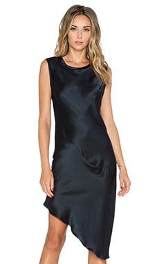 Asymmetric Drape Dress in Midnight