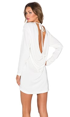 KES Open Back Drape Dress in White