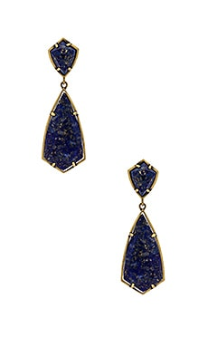 Carey Earring in Antique Brass & Lapis