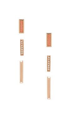Kendra Scott Tanner Set of 3 Earring in Rose Gold, Coral Kyocera Opal & White CZ Pave