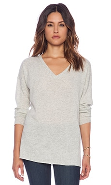 Kingsley Cashmere Cozy V Neck Sweater in Light Heather Grey