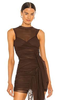 Brown Jersey Tie Top Kim Shui $295