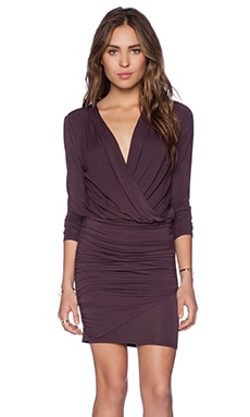 krisa Long Sleeve Ruched Dress in Plum