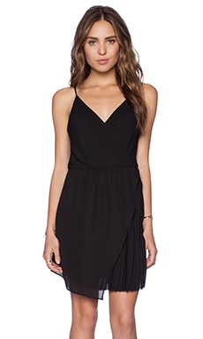 krisa Pleated Wrap Dress in Black
