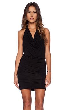 Drape Halter Mini Dress in Black