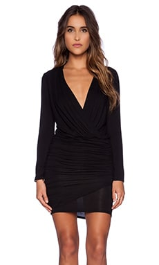 krisa Long Sleeve Ruched Dress in Black